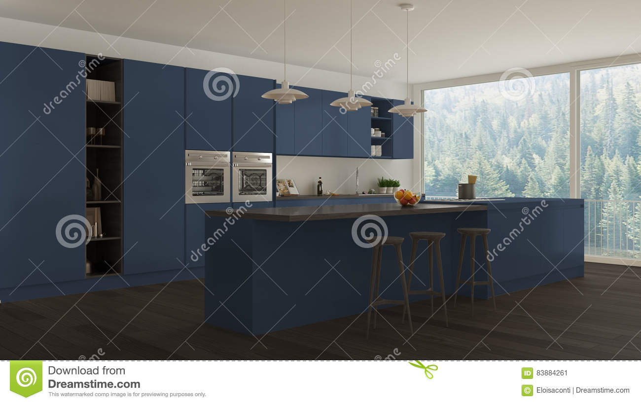 Scandinavian White Kitchen With Wooden And Blue Details Minimal Stock Illustration Image
