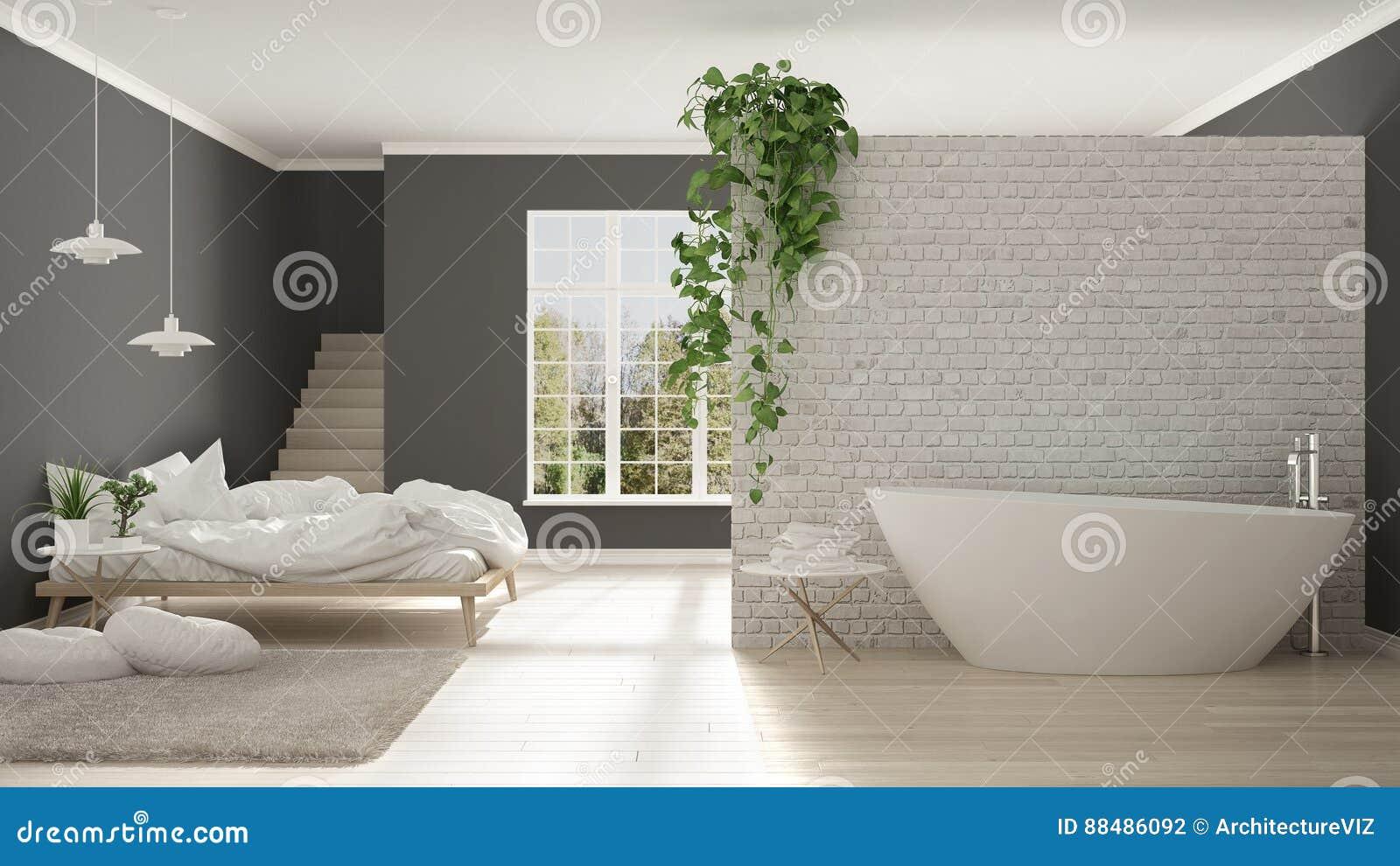Scandinavian White Minimalist Bathroom And Bedroom Open Space