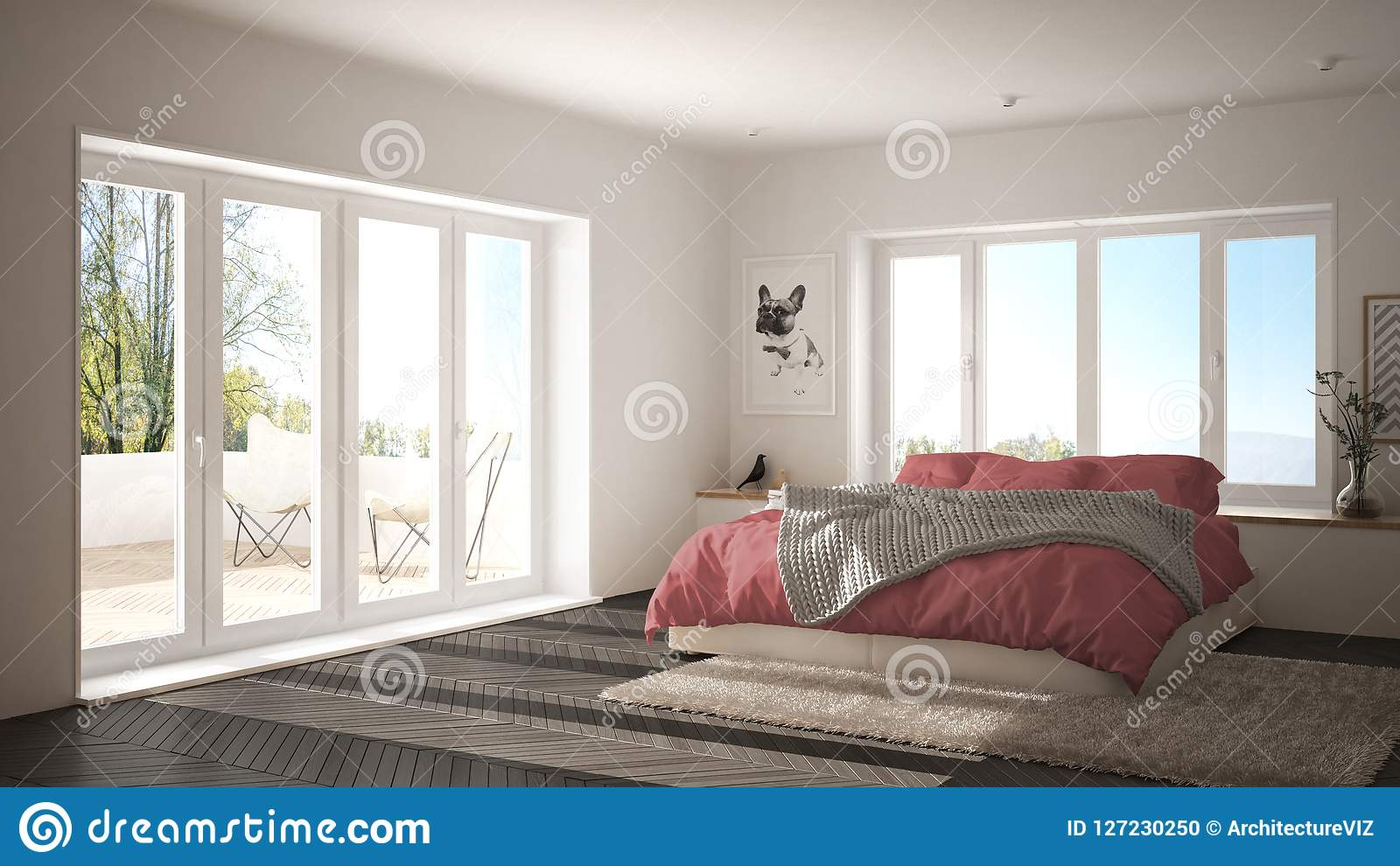 Scandinavian White And Pink Minimalist Bedroom With ...