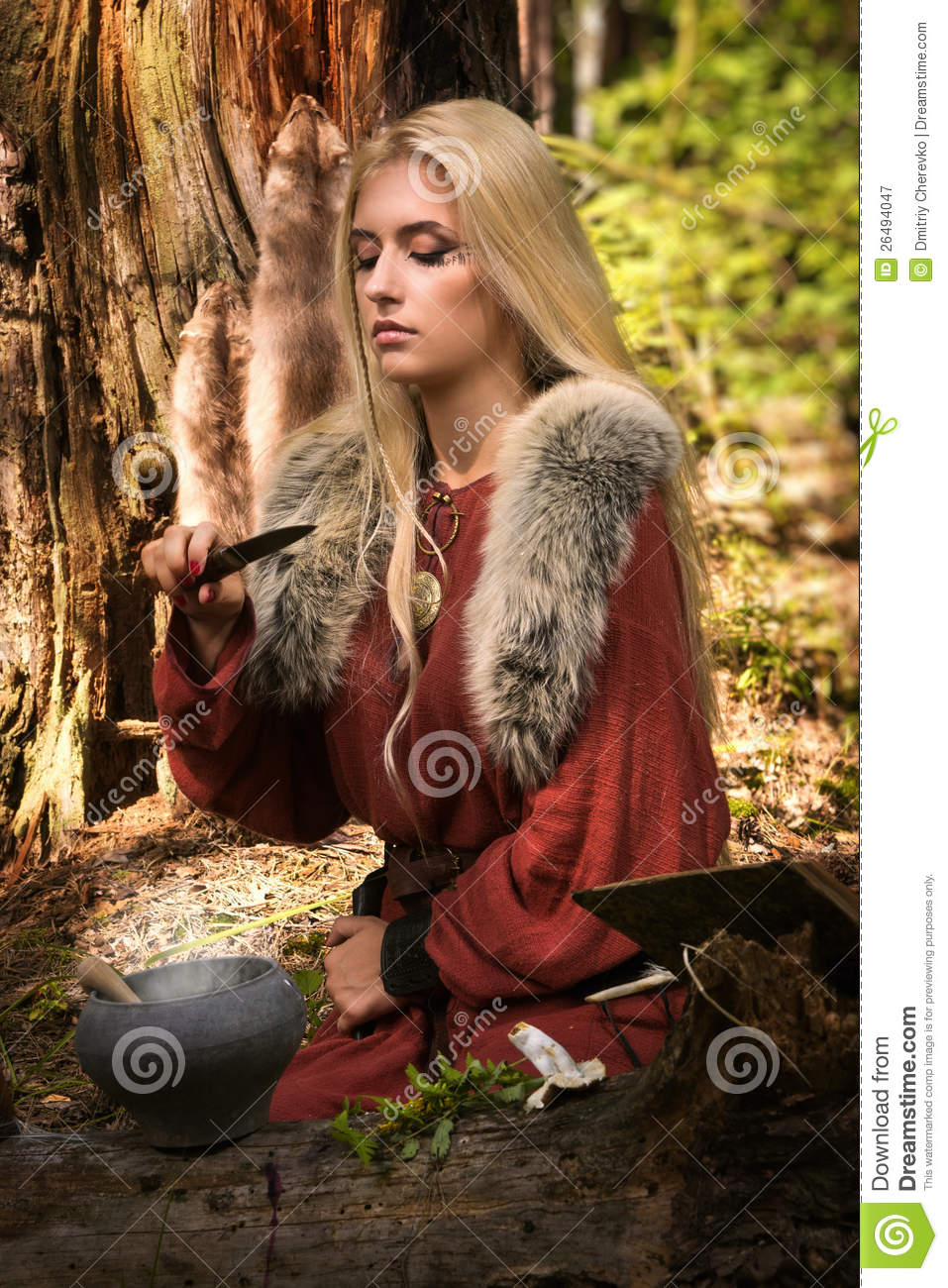 Scandinavian Witch Pythoness Cooking Potion Stock Image