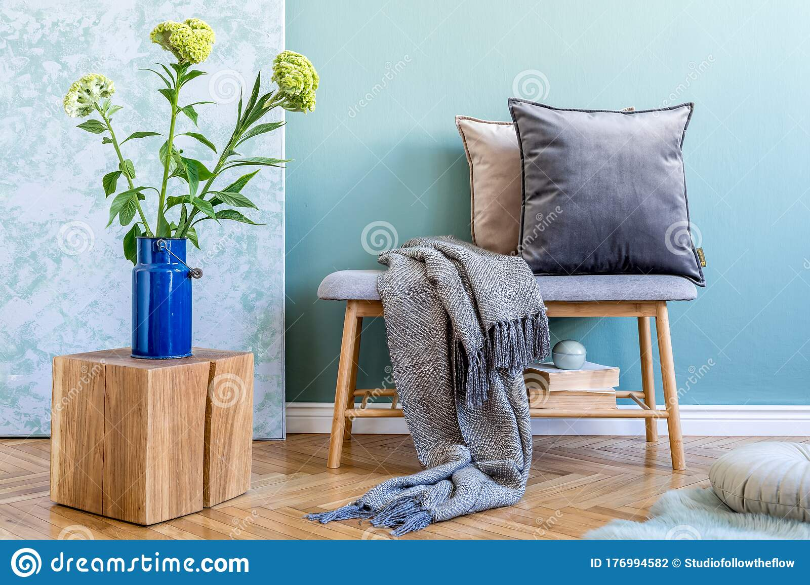 Scandinavian Wooden Bench With Pillows And Plaid Stock Photo Image Of Interior Furnitures 176994582
