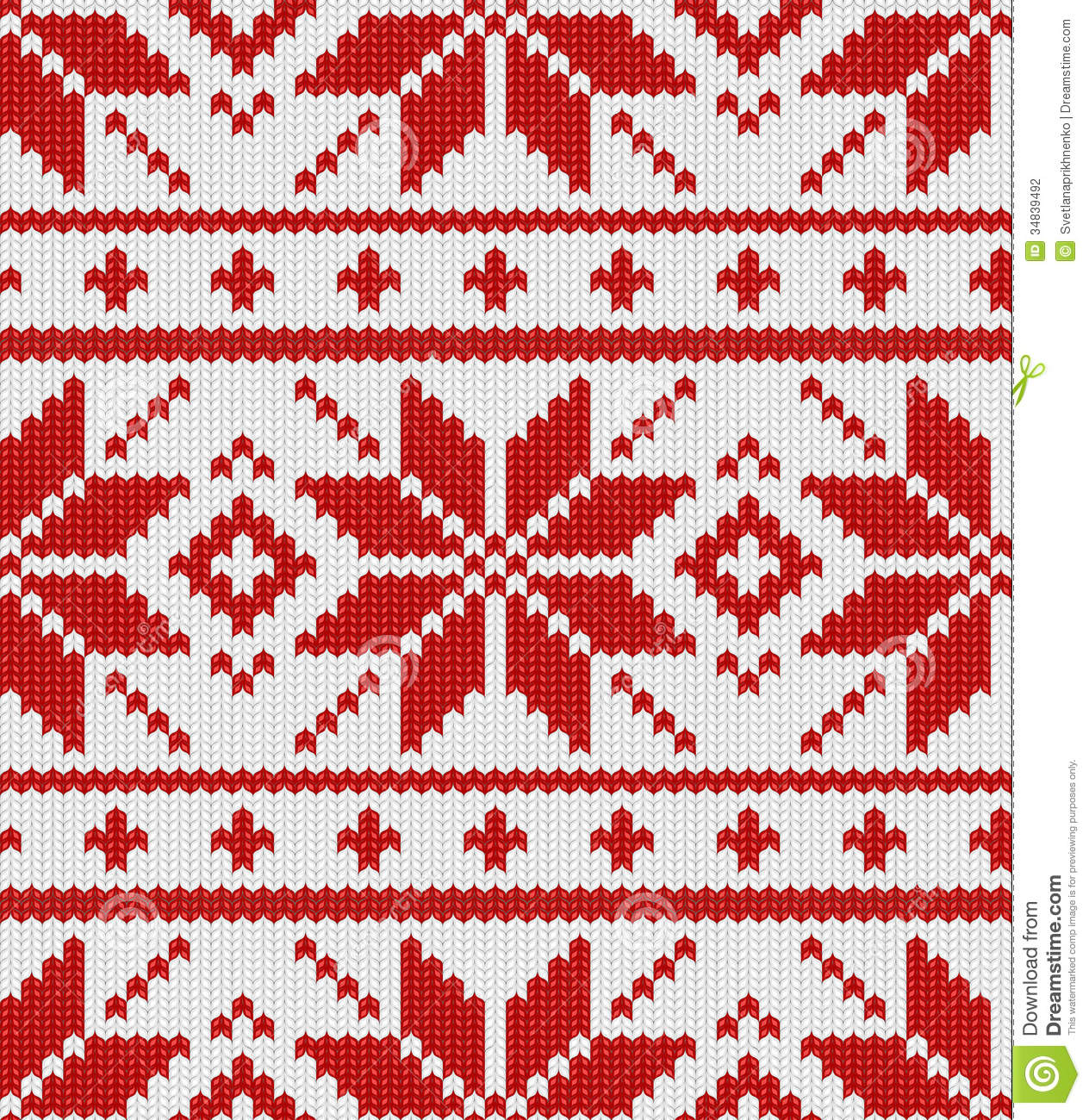 Christmas Knitting Patterns Easy : Scandynavian Knitted Pattern Stock Photography - Image: 34839492