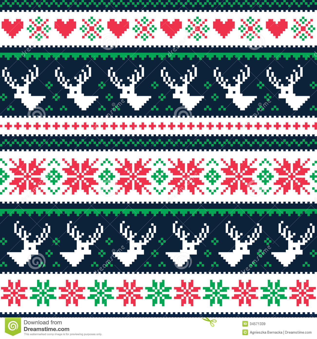Scandynavian Winter Seamless Pattern With Deer And Hearts
