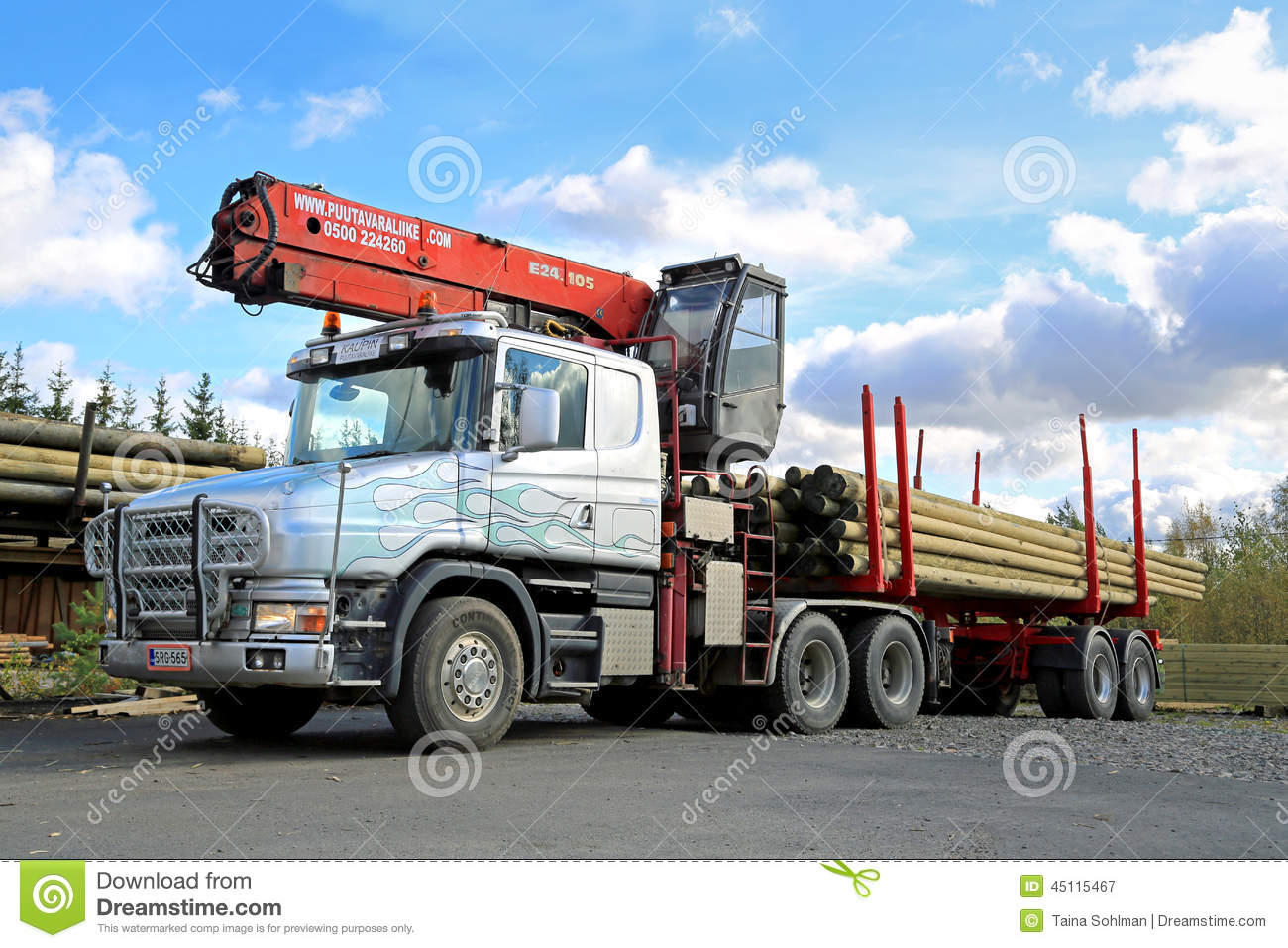 Scania 124G Truck With Log Loader Editorial Photography ...