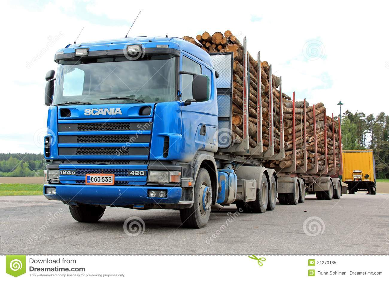 Scania 420 het Registreren Vrachtwagen met Houten Aanhangwagens