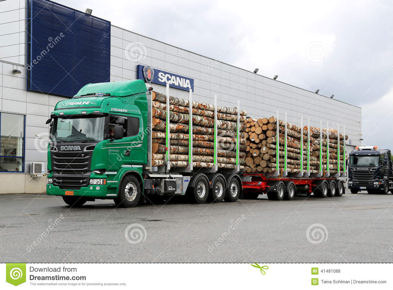 Scania r euro v timber truck editorial image