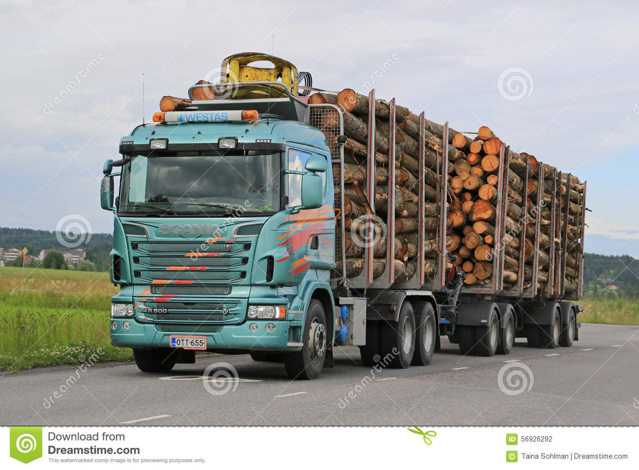 Scania R500 Logging Truck with Full Load