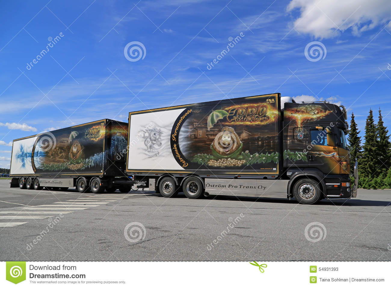 Refrigerated Truck Vehicle : Scania v reefer truck in motion editorial stock photo