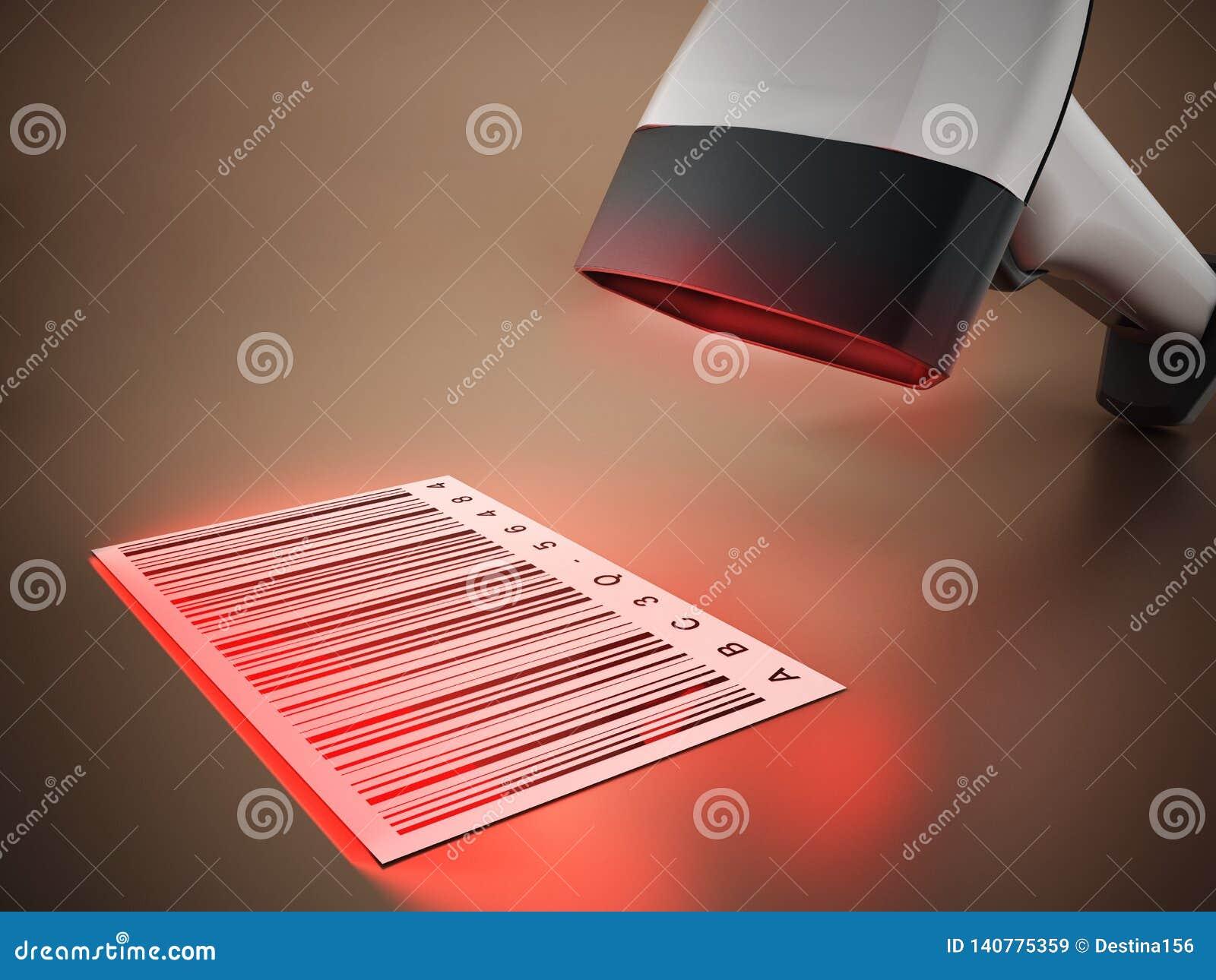 Scanner générique de code barres analysant code barres illustration 3D