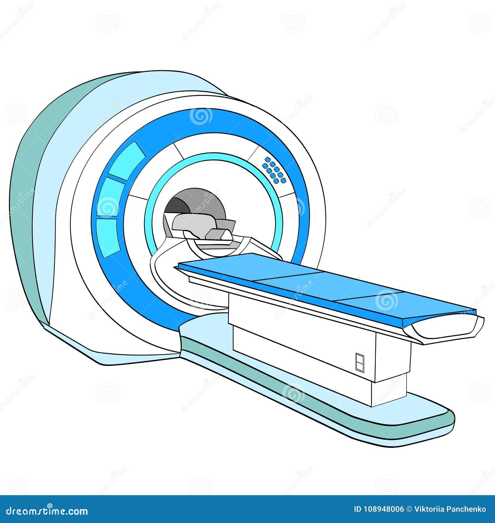 Scanner geautomatiseerde tomografiescanner, magnetic resonance imagingsmachine, medische apparatuur Voorwerp op wit