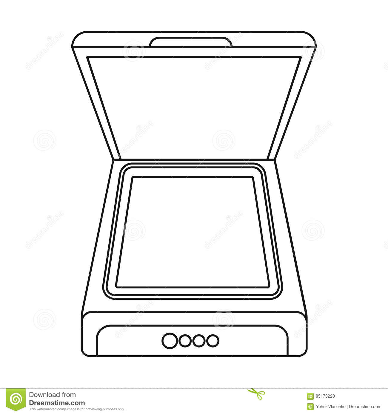 Scanner icon outline style vector illustration for Decor outline