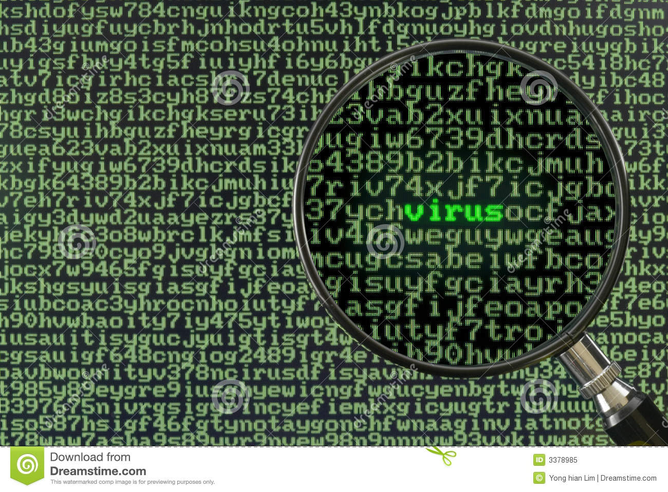 Magnifying glass focusing on the word Virus on a screen full of ...