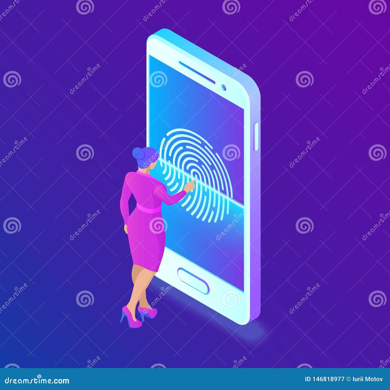 Scanning Fingerprint On Smartphone  Unlock Mobile Phone  Biometrics