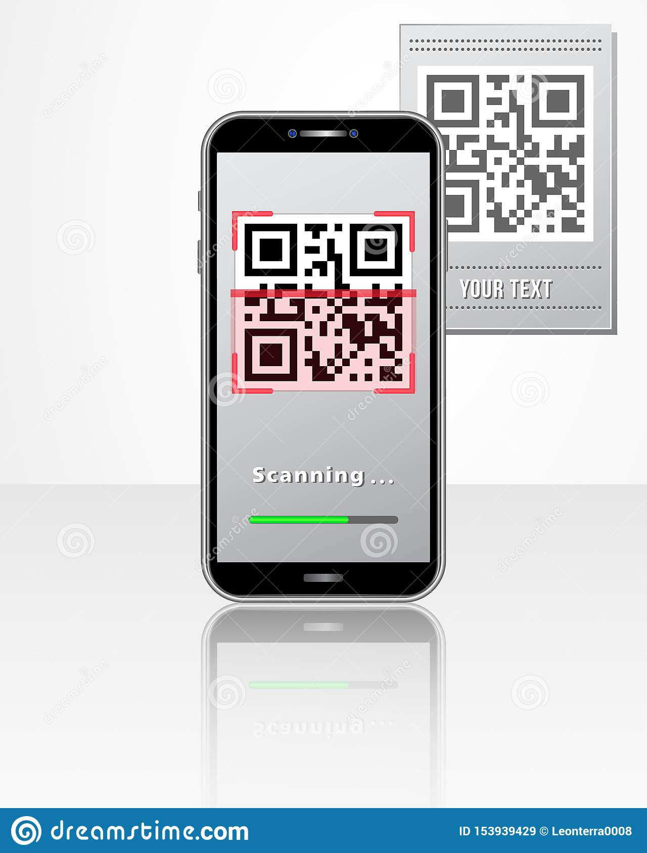 Scanning QR code product price tag using smartphone with mobile app isolated on white glossy table. Design concept for online shop