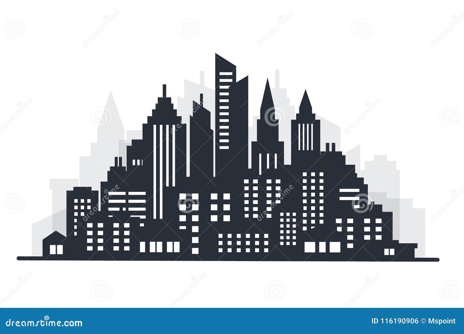 Scape da terra da silhueta da cidade Paisagem da cidade Paisagem do centro com arranha-céus altos O governo da arquitetura do pan