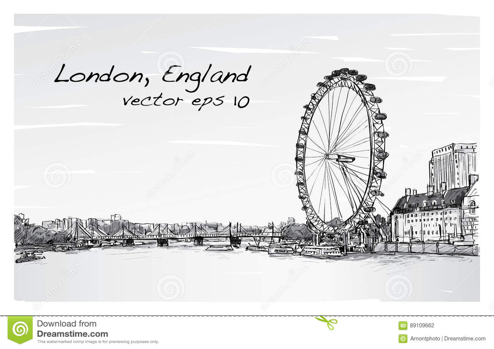 Scape de la ciudad que dibuja el ojo y el puente, río, ejemplo de Londres