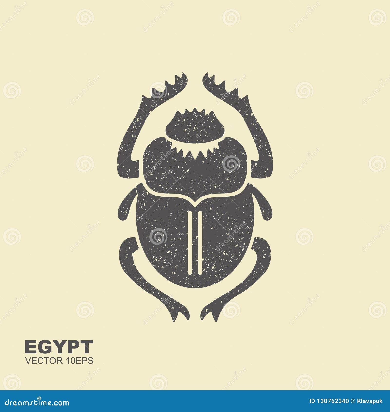 Scarabeo di vettore L Egitto antico Icona piana