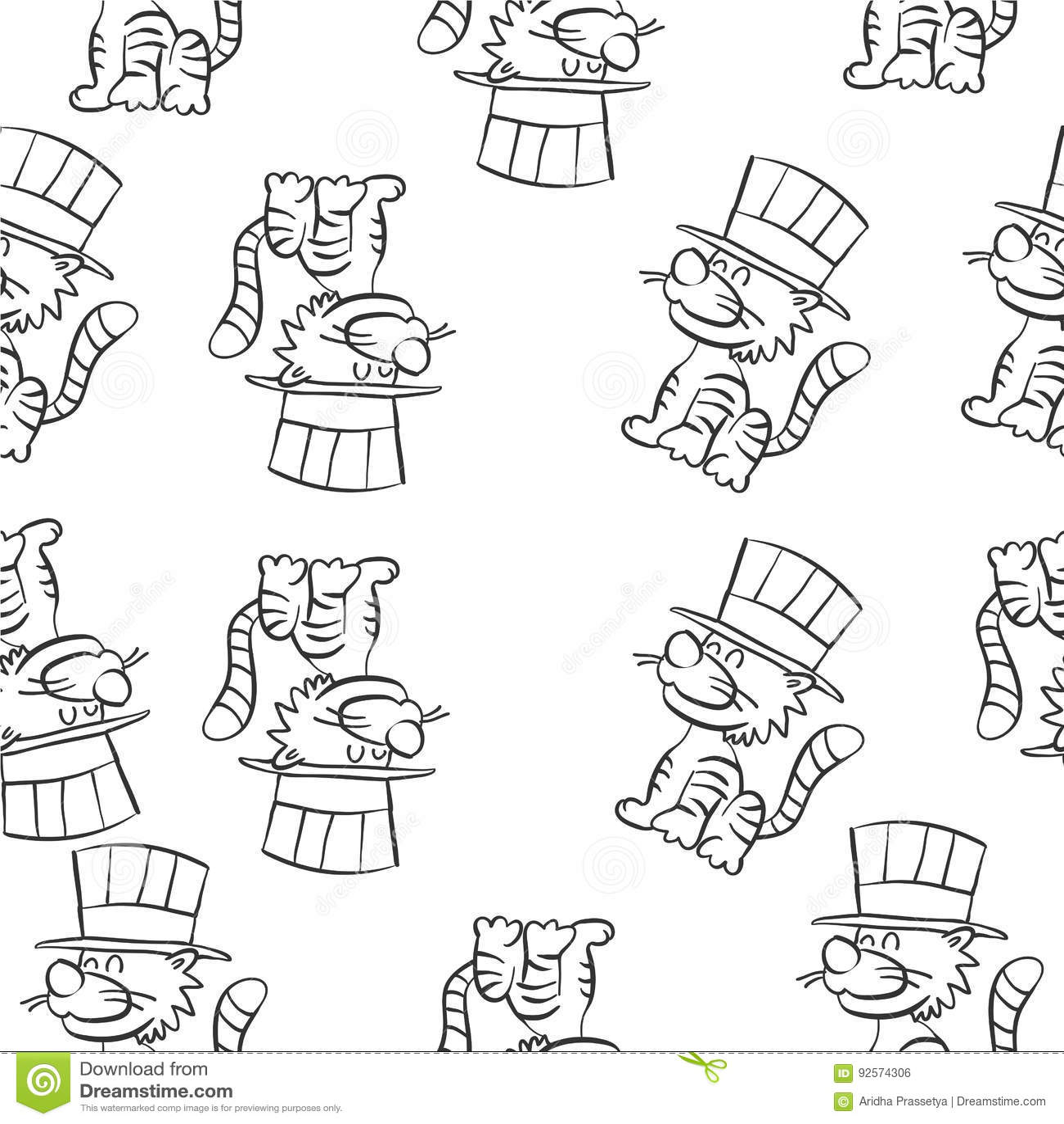 Scarabocchi del circo del gatto di tiraggio della mano