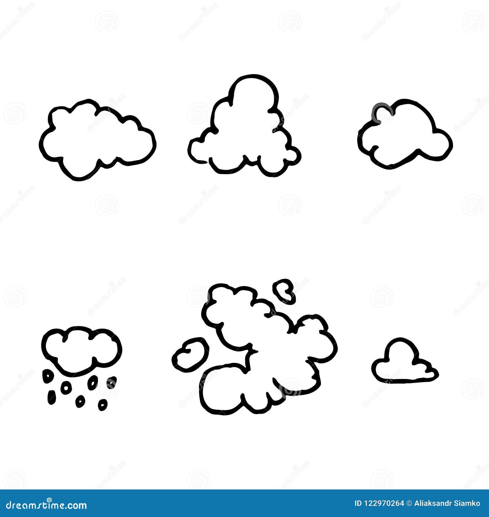 Scarabocchi disegnati a mano delle nuvole fissati Icone di stile di schizzo EL della decorazione