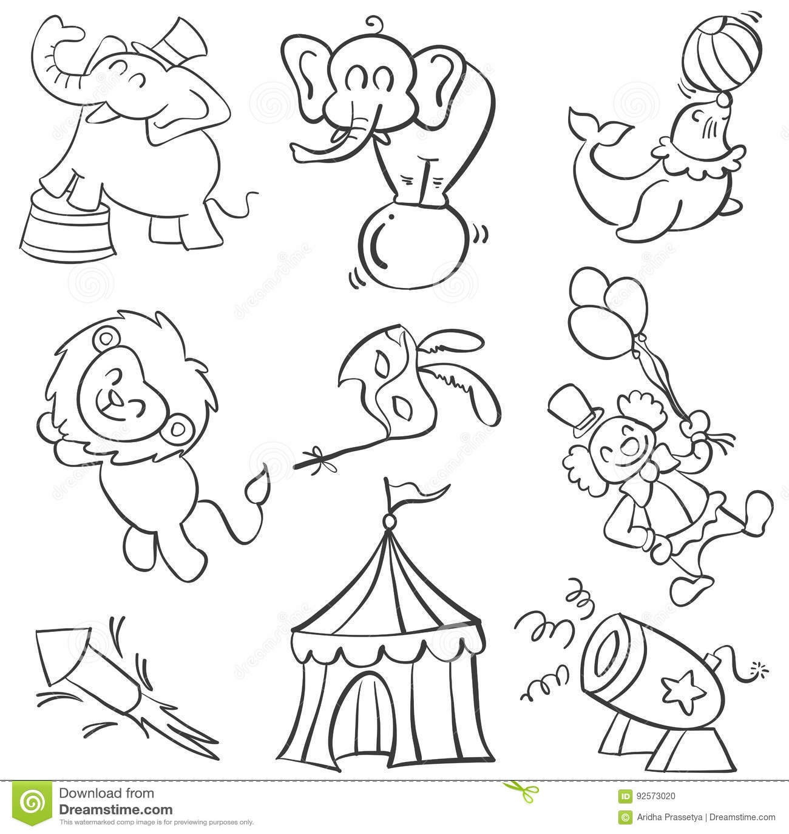 Scarabocchio del circo dell elemento vario