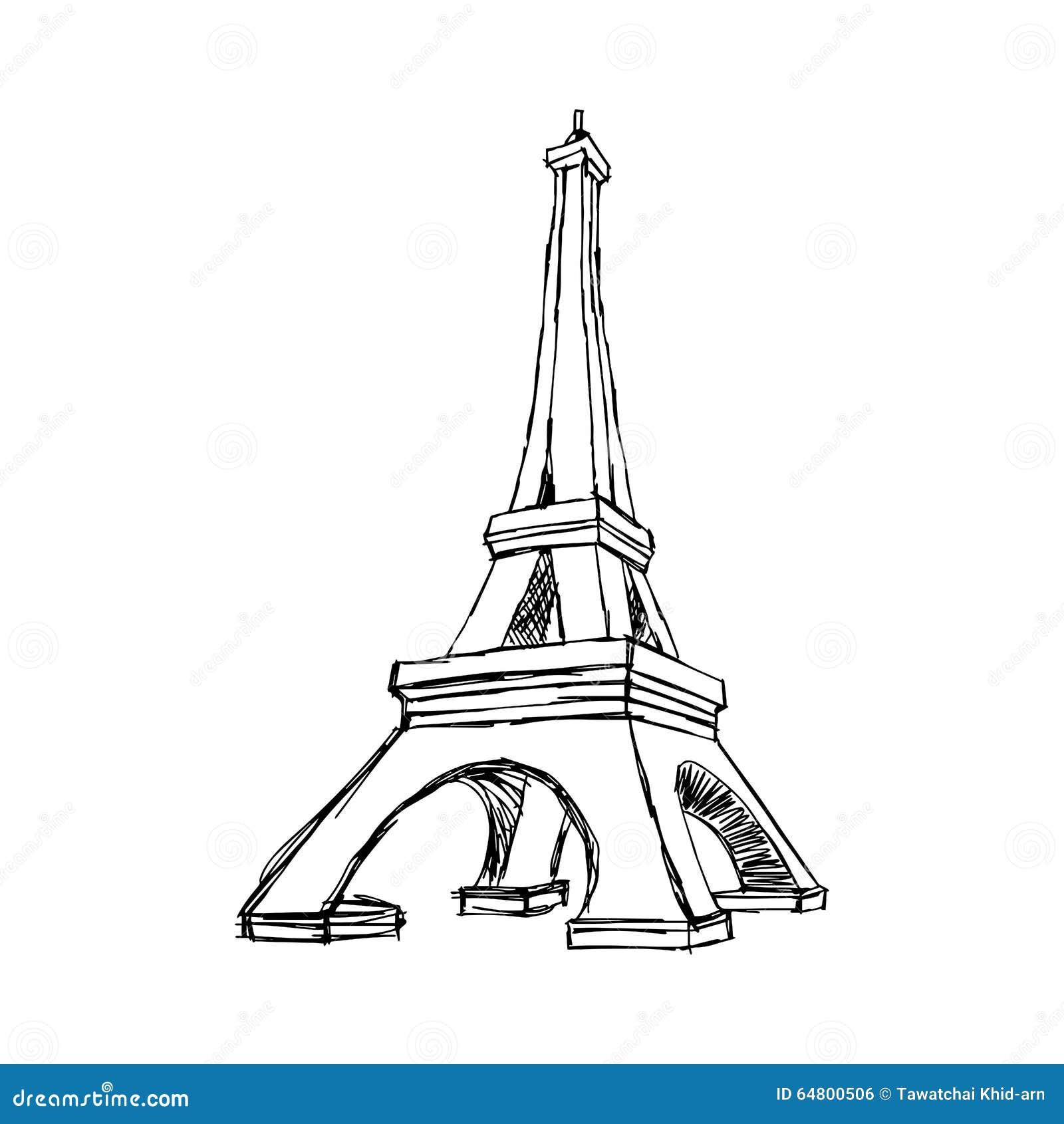 Scarabocchio di vettore dell illustrazione disegnato a mano di rimorchio di Parigi Eiffel di schizzo