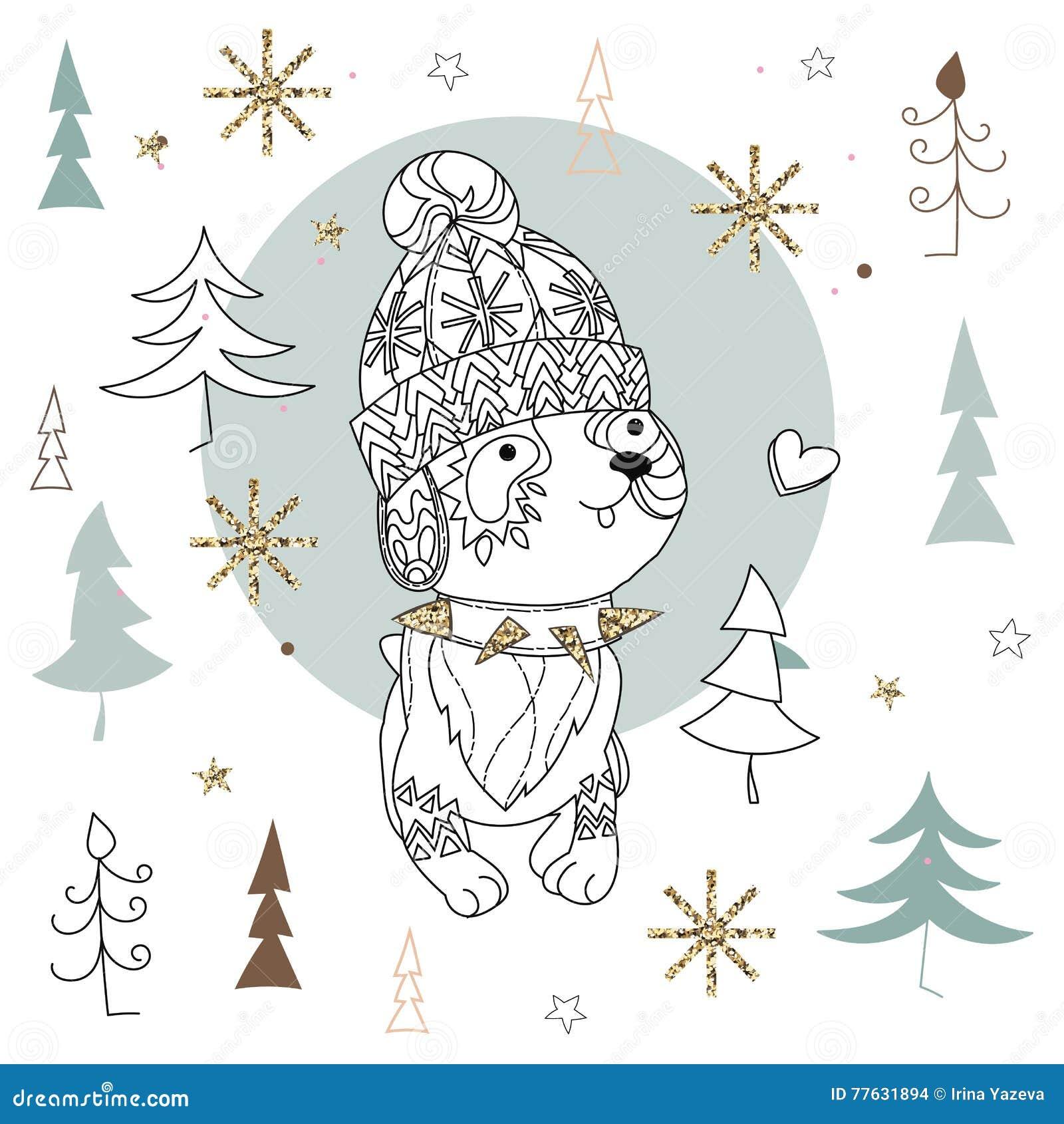 Immagini Natale Zen.Scarabocchio Sveglio Di Arte Di Zen Del Cane Di Natale