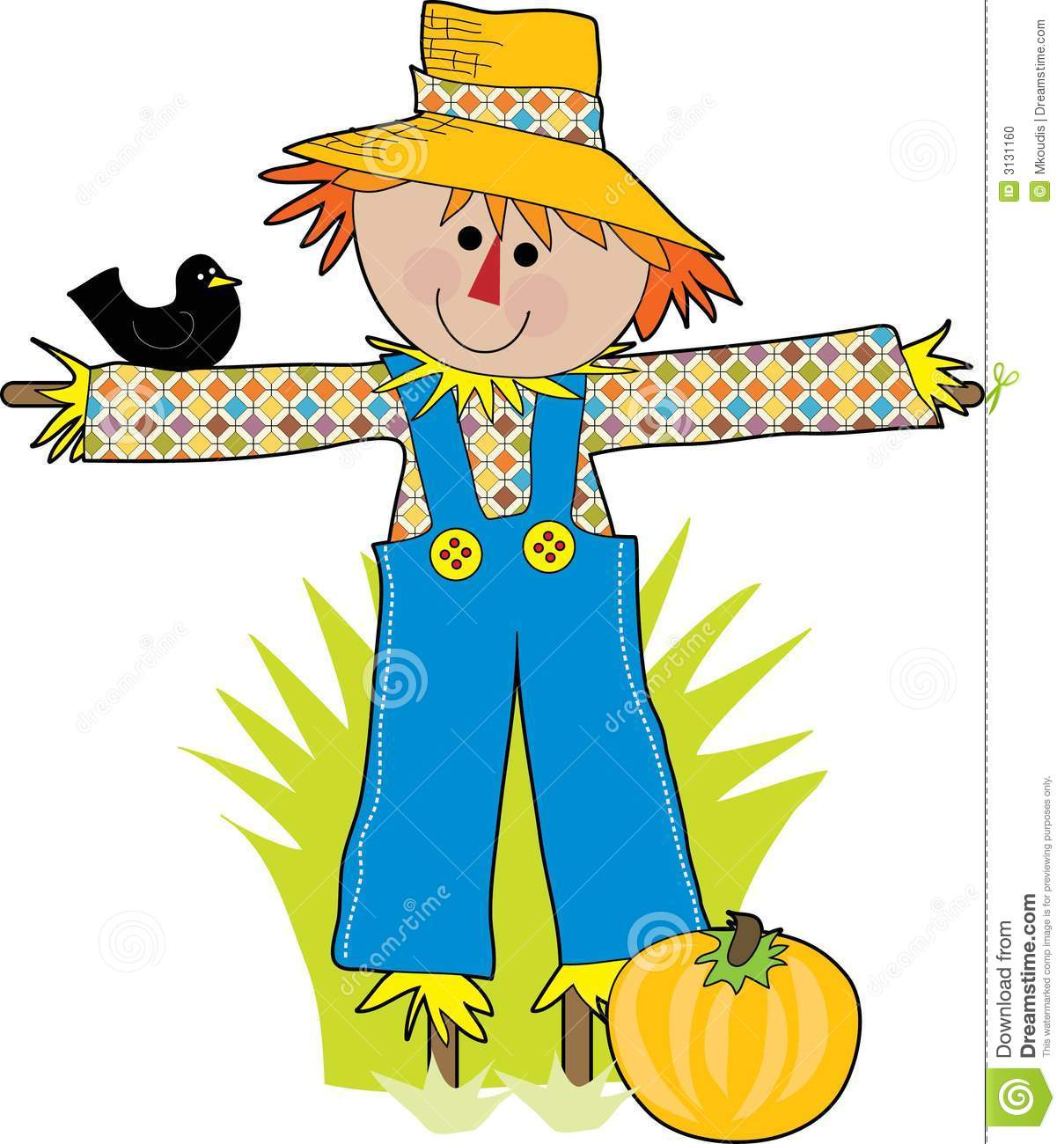 Scare crow stock vector illustration of doll garden for Animated scarecrow decoration