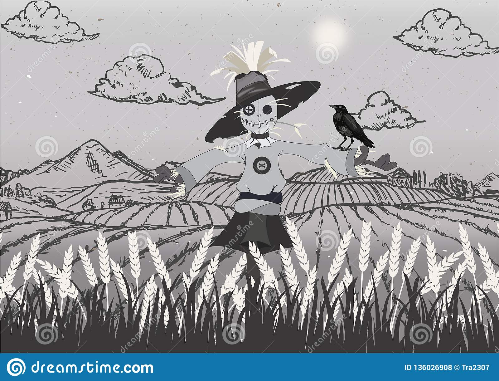Scarecrow on the field black and grey