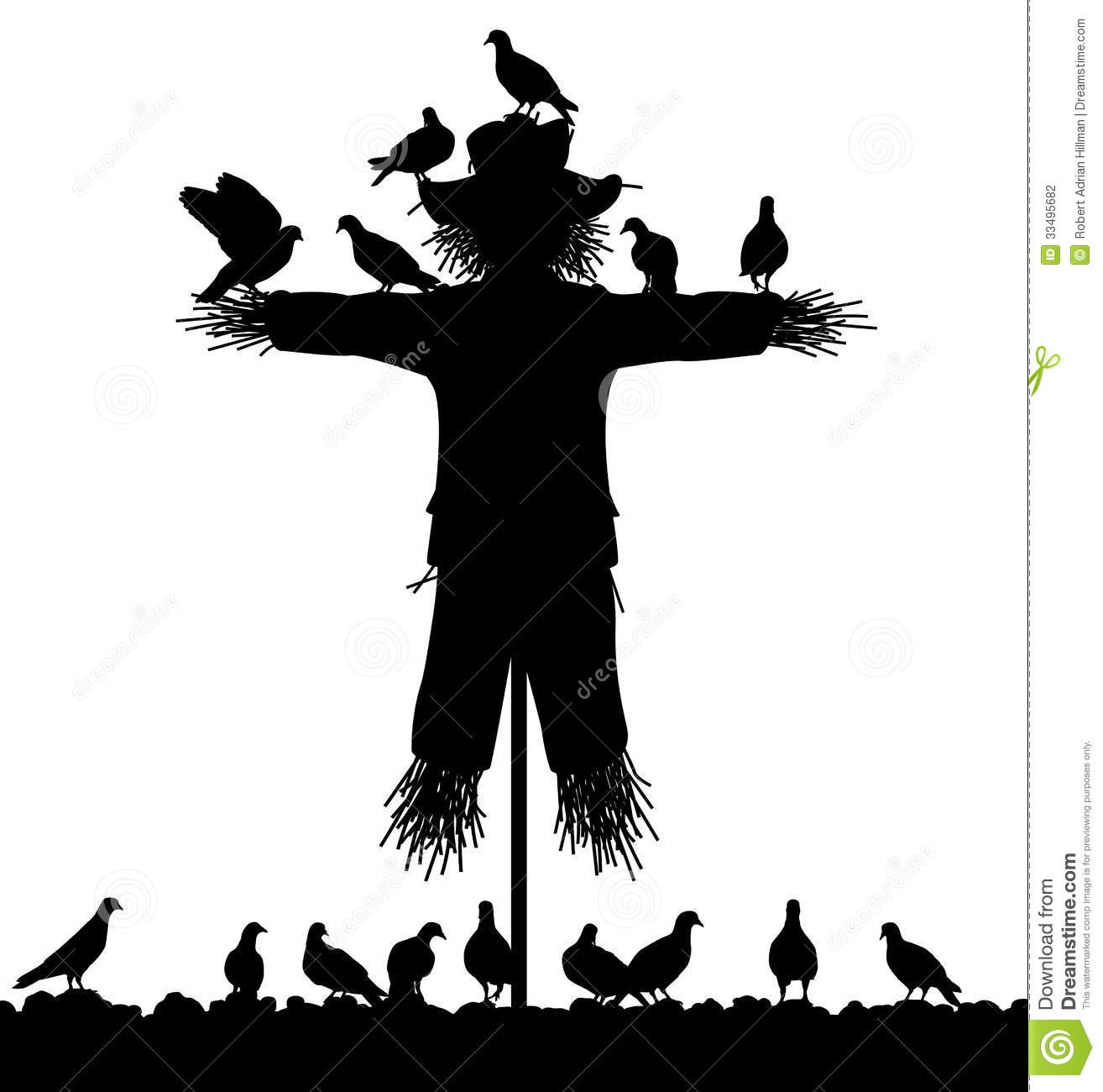 ... flock of pigeons on a scarecrow with all figures as separate objects
