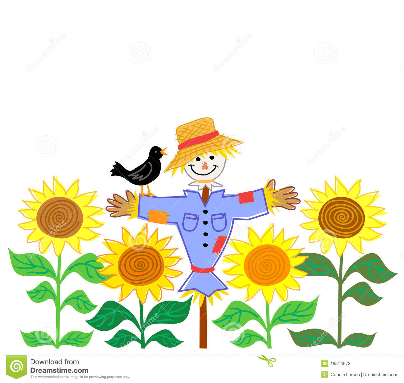 Cartoon illustration of a patchwork scarecrow in a field of sunflowers
