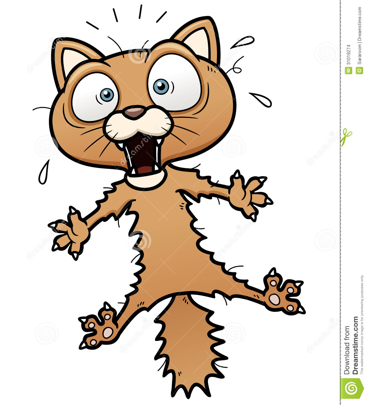 Vector illustration of scared cartoon cat