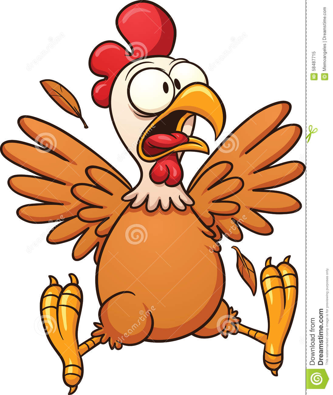 Scared cartoon chicken. Vector clip art illustration with simple ...