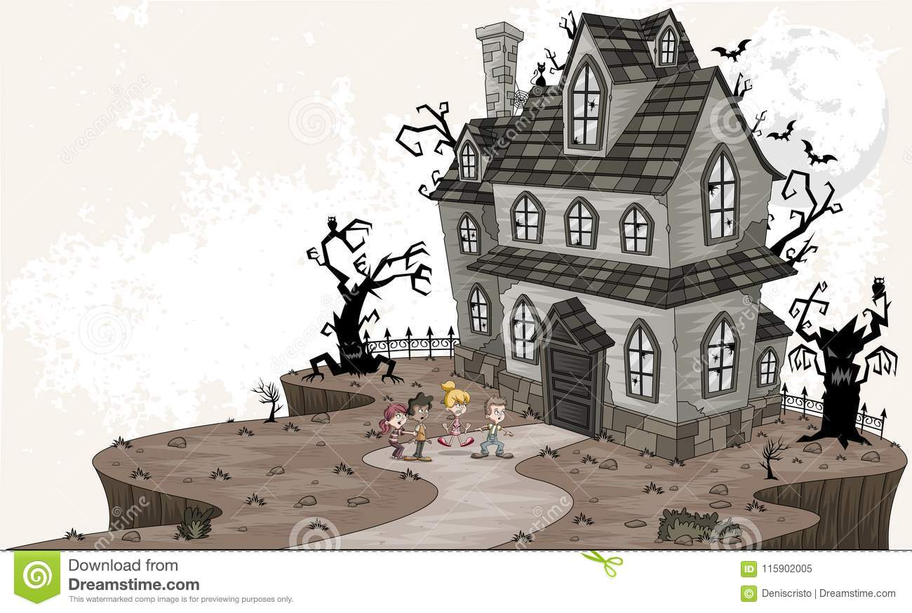 Scared cartoons illustrations vector stock images - Cartoon haunted house pics ...
