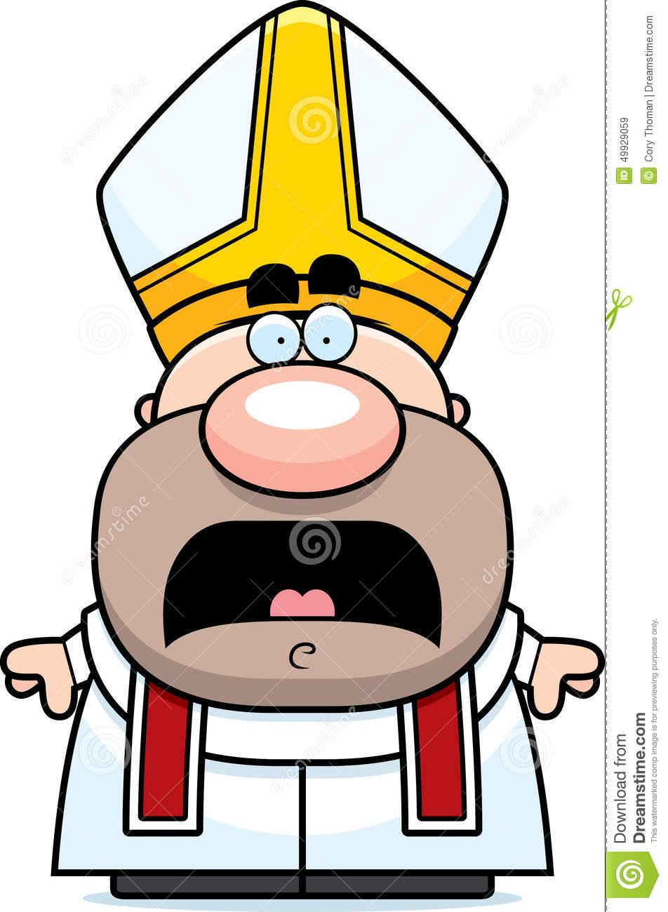 Scared Cartoon Pope stock vector  Illustration of scared