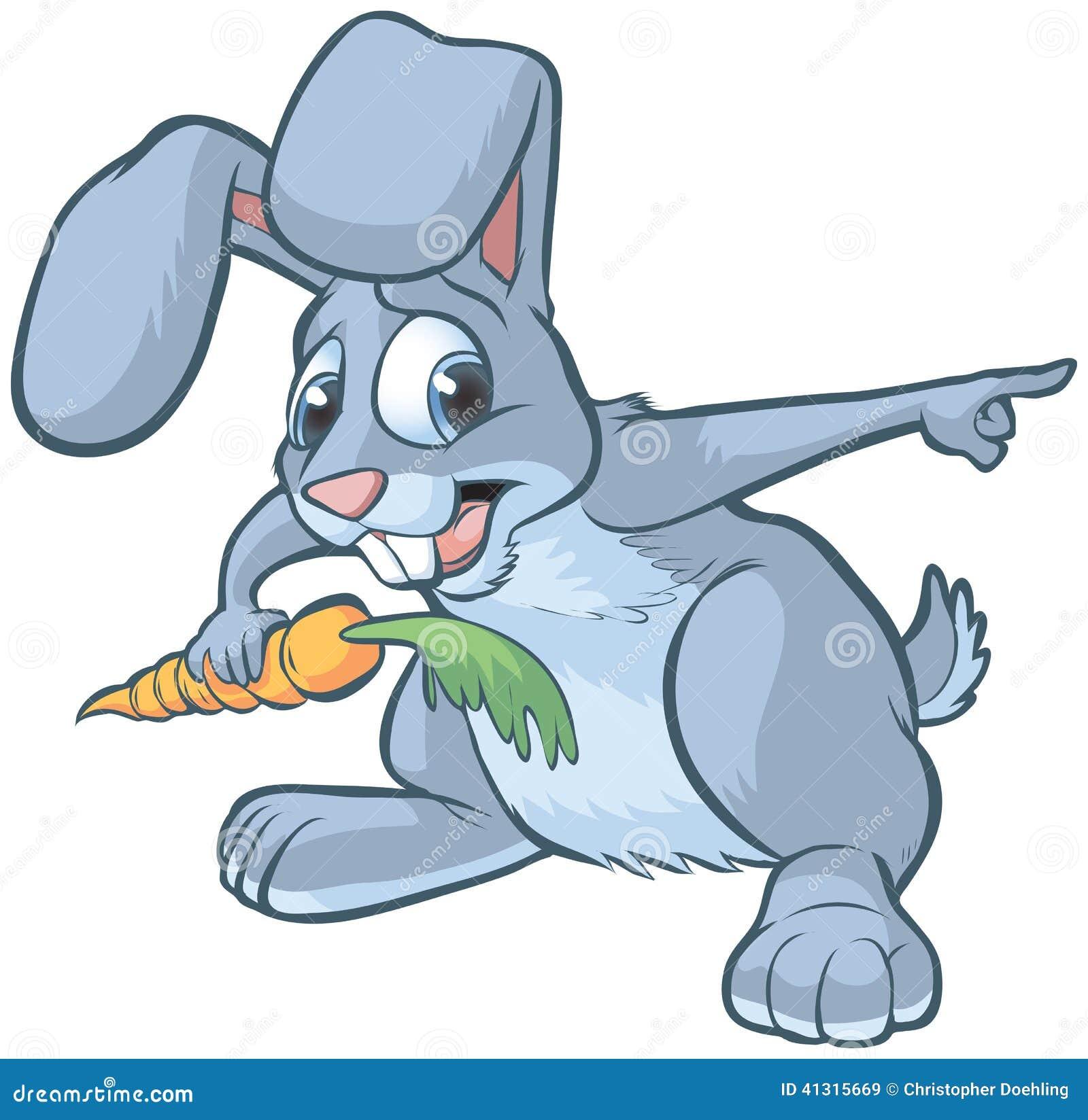 Vector cartoon clip art of a scared gray bunny or rabbit holding a ...