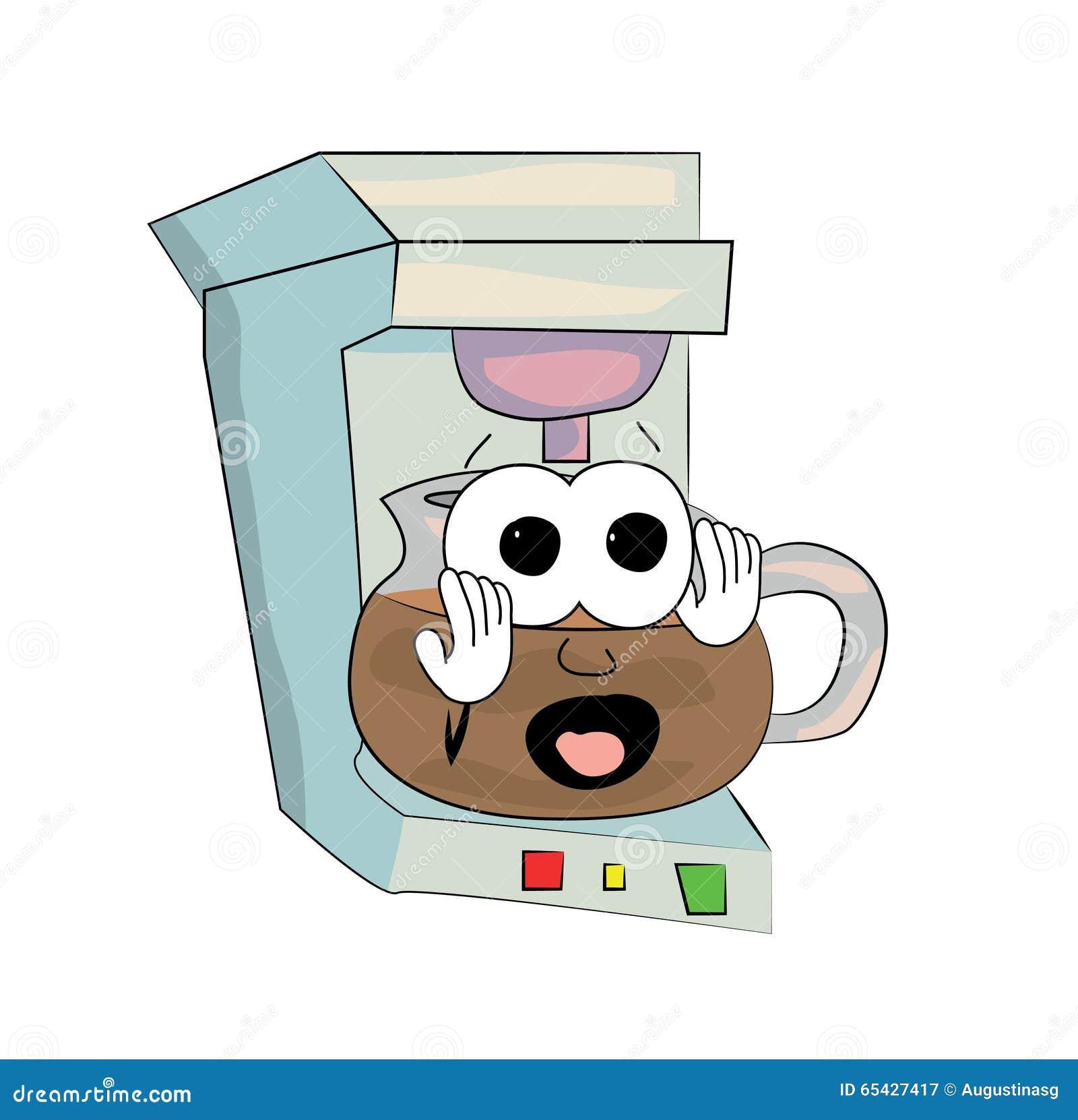 Cartoon Coffee Maker ~ Scared coffee maker cartoon stock illustration
