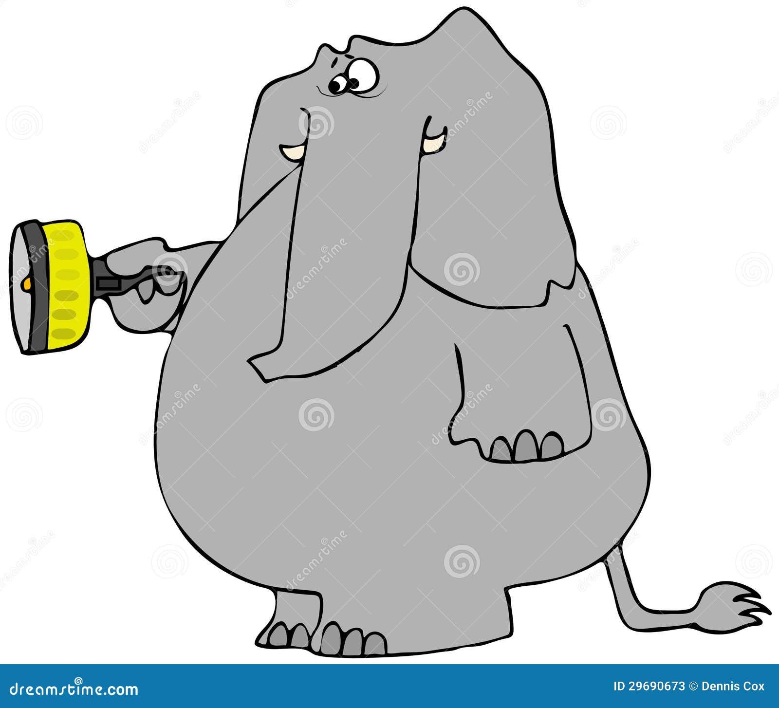 Scared Elephant With A Flashlight Stock Photos - Image ...