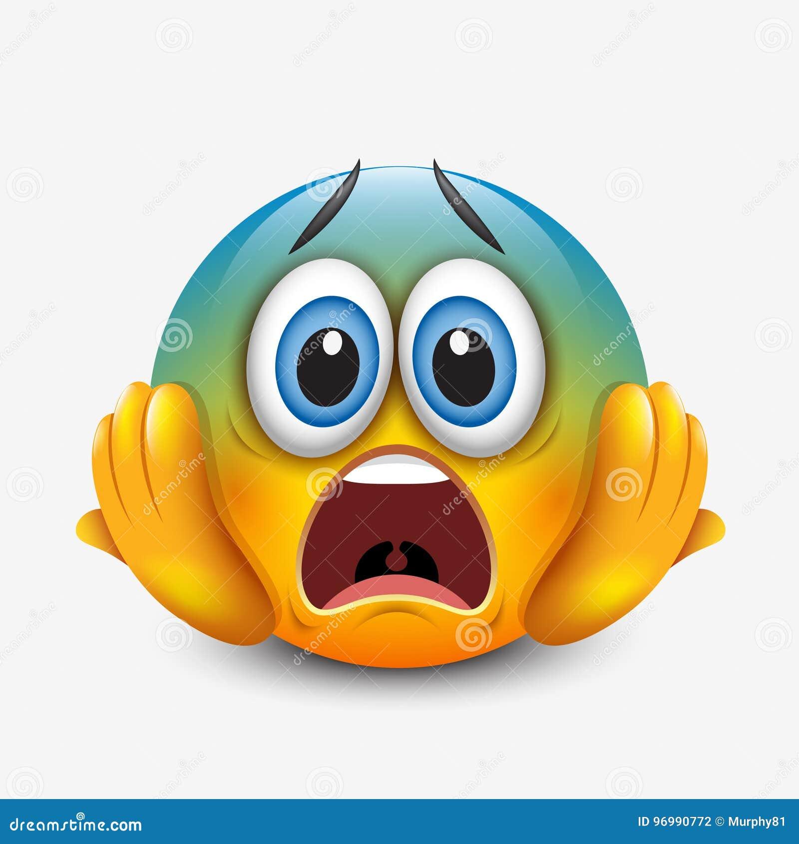 scared emoticon holding head emoji smiley vector illustration
