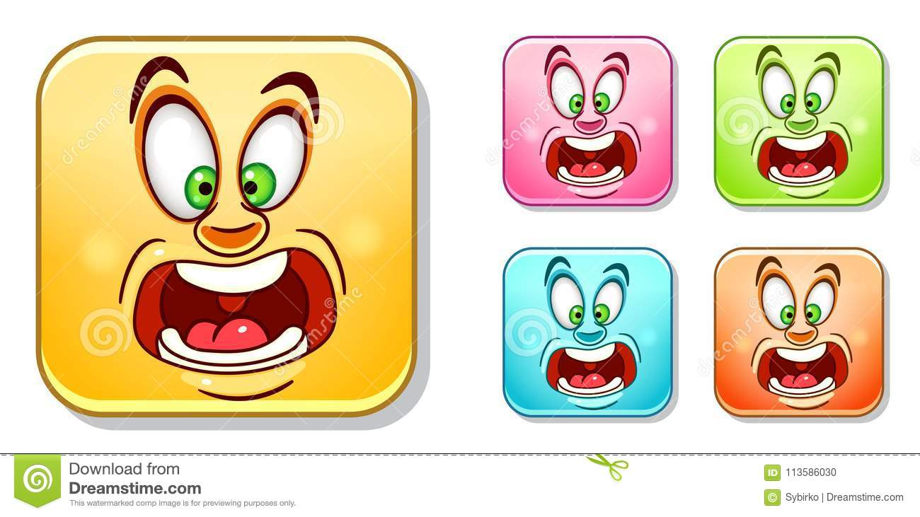 Scared Emoticons Collection Stock Vector - Illustration of