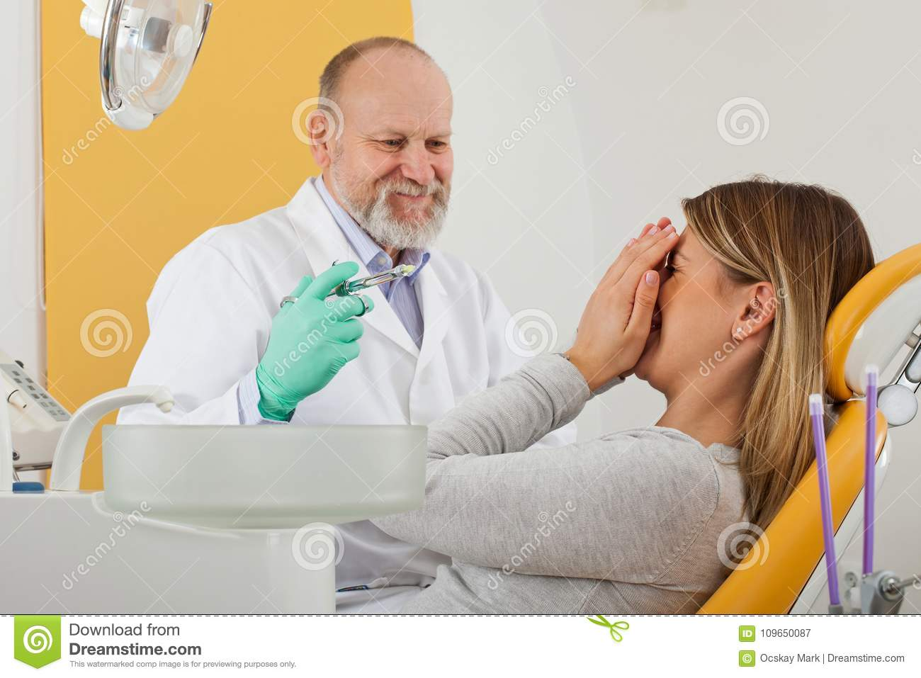 Scared Patient Before Dental Anesthesia Stock Image - Image of