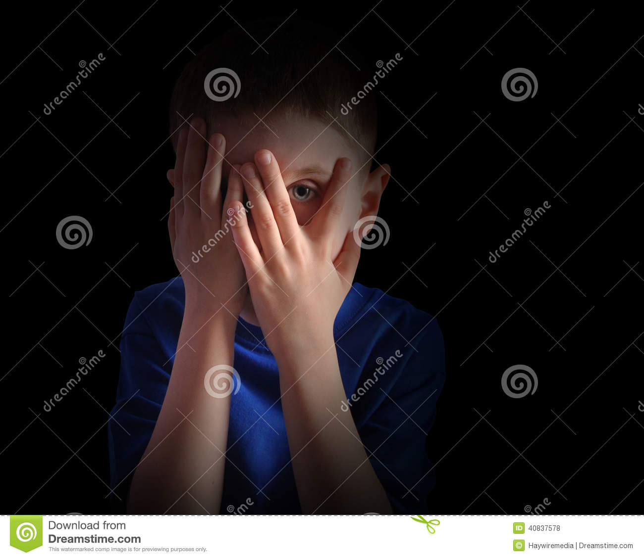 Scared Little Child Covering Eyes On Black Stock Photo