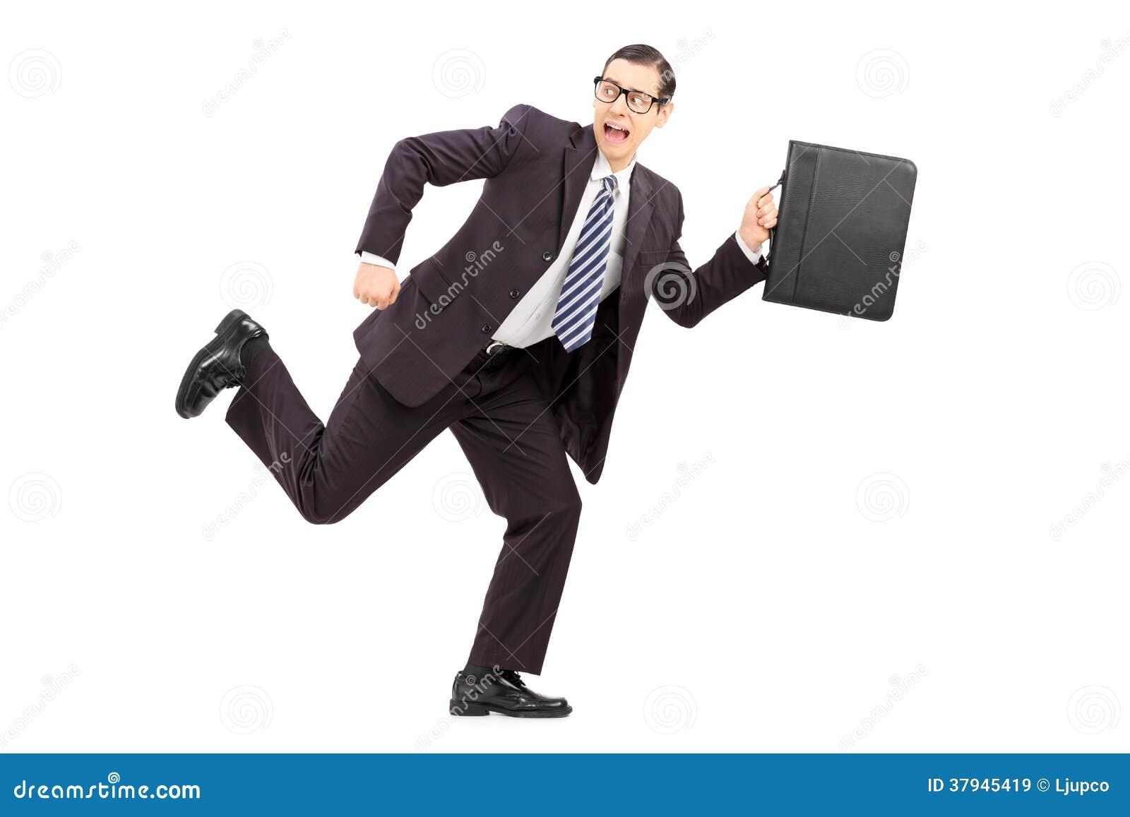 Guy running away scared