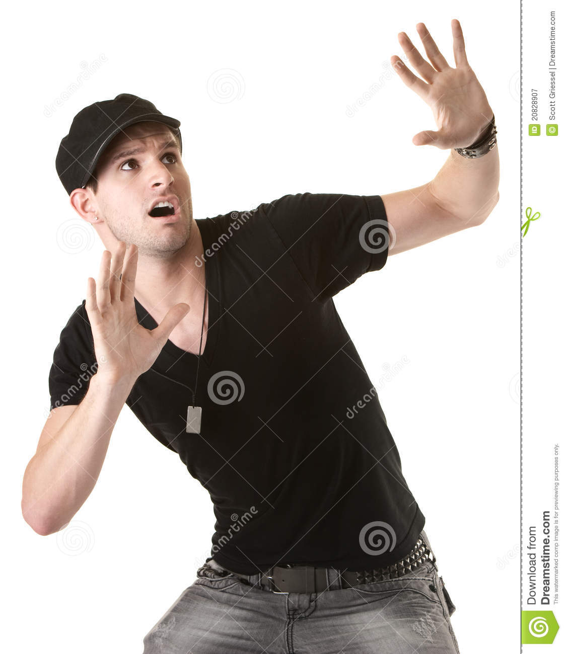 Scared Man stock image. Image of cute, expression, anxiety ...