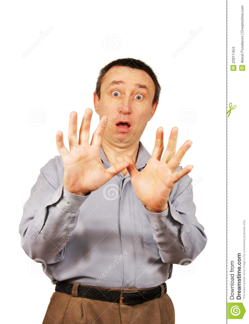 Scared man is closed by hands over white background.