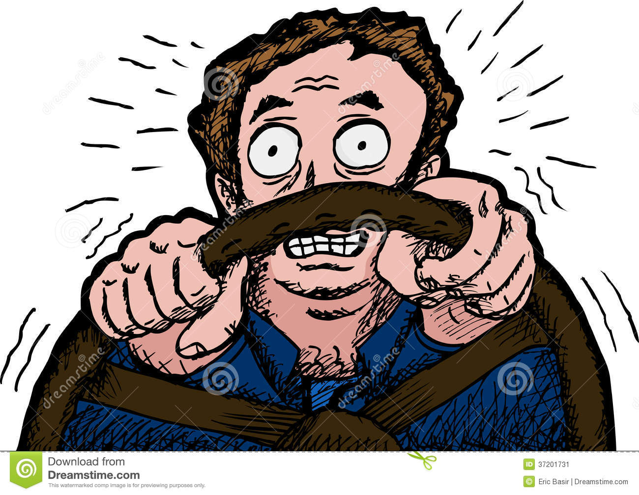 Scared Man Driving Stock Image