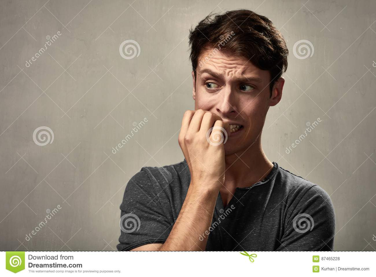 Download Scared man face. stock photo. Image of male, frightened - 87465228