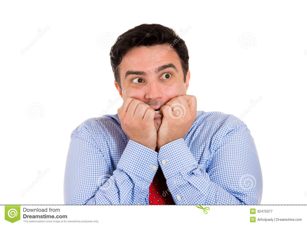 scared man looking up royalty free stock photography
