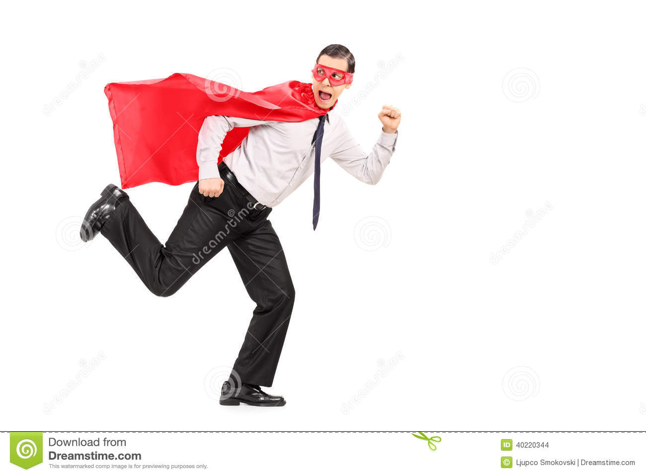 Scared Man In Superhero Costume Running Stock Photo ...