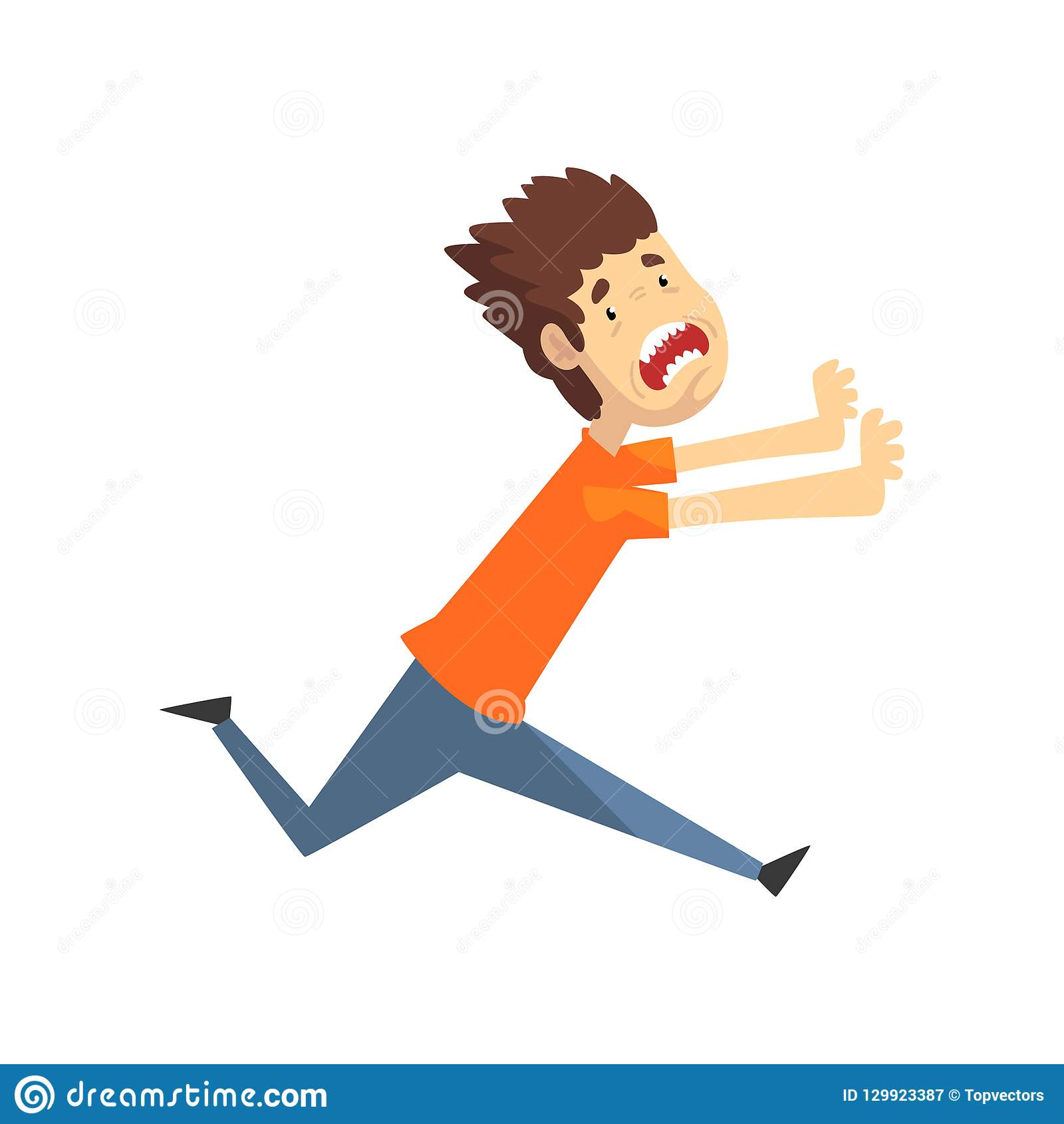 Scared and panicked young man running and shouting, emotional guy afraid of something vector Illustration on a white