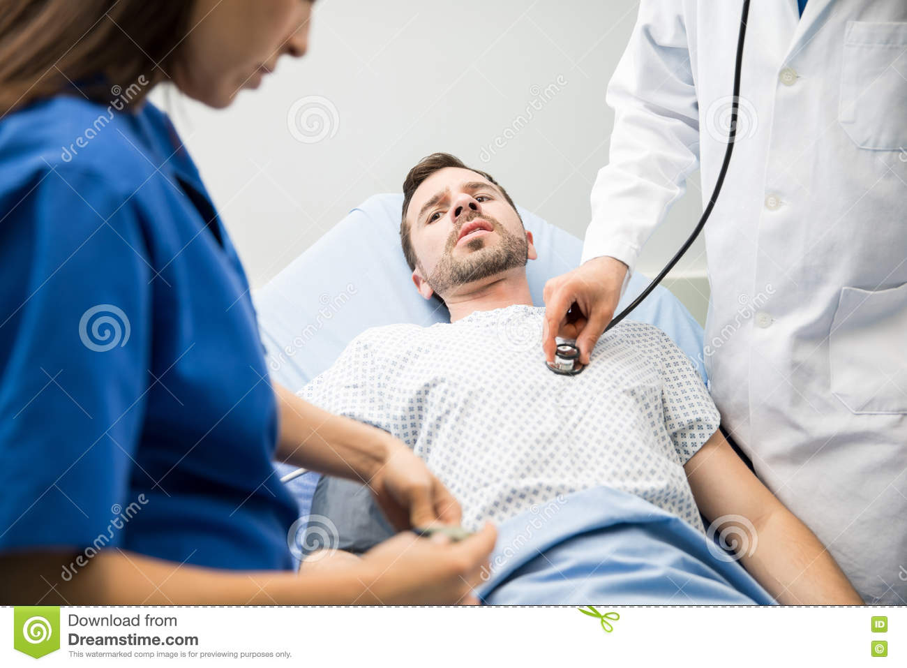 Scared Patient In The Emergency Room Stock Image Image